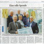 Eine Edle Spende - Ehemaliger Brandkassenchef Joachim Queck hat 10.500 Euro aus seiner Verabschiedung an den Turn- und Sportförderverein gegeben