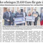 Zeitungsartikel: Kalender erbringen 21.650 Euro für gute Zwecke - Lions unterstützen Heimatmuseum Leer und Ostfriesischen Turn- und Sportförderverein (OTS)